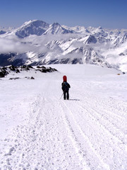 The person on slopes of Elbrus