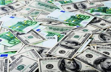 Dollars and Euro isolation on flat surface