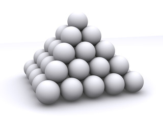 Pyramid from spheres. 3d