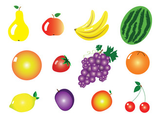 Vector Illustration of Some Friuts for Clip Art or Icons
