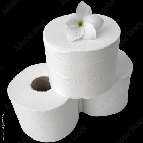 rouleaux de papier toilette avec fleur blanche sur fond. Black Bedroom Furniture Sets. Home Design Ideas
