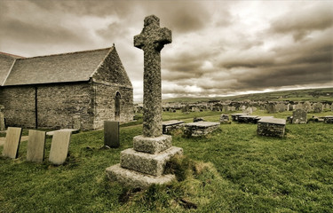 Celtic cross by Tintagel, Cornwall, England