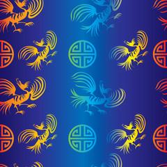 Seamless chinese dragon-bird pattern on blue background