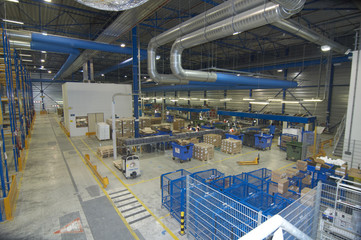 Warehouse floor showing packing stations &airco vents