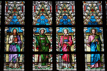 Stained-glass window in St.Vitus cathedral in Prague
