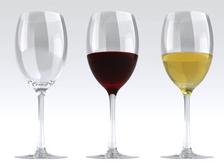 Wine Glasses - 3D Render of Empty, red & white wine