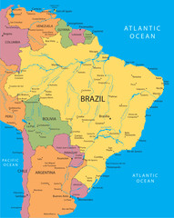 Brazil vector map with the main cities.