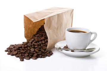 Coffee-shop stories, white cup of coffee and paper bag with coffee beans