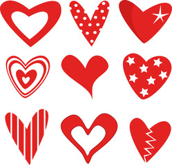 Vector illustration of beautifull hearts icon set
