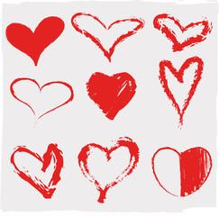 Vector illustration of beautifull hearts icon set