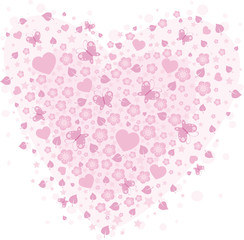 vector valentine background with hearts