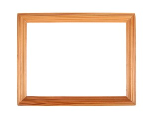 Simple wooden picture frame isolated over white