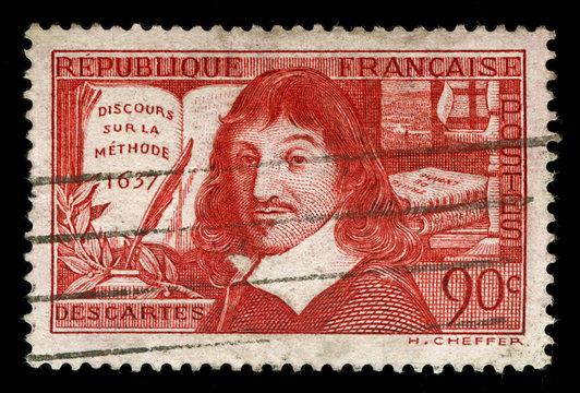 vintage french stamp depicting Rene Descartes
