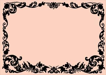 black curled frame on beige