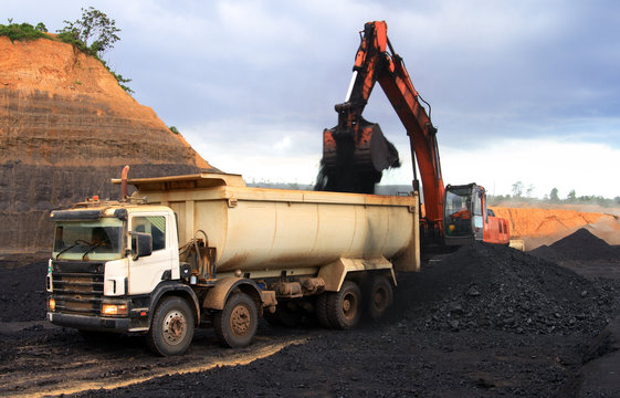 Coal loading at open mining site