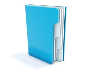 Blue notebook icon isolated on white