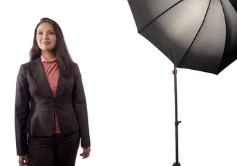 An asian woman during a photoshoot
