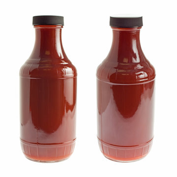 Bottle of barbecue sauce on white