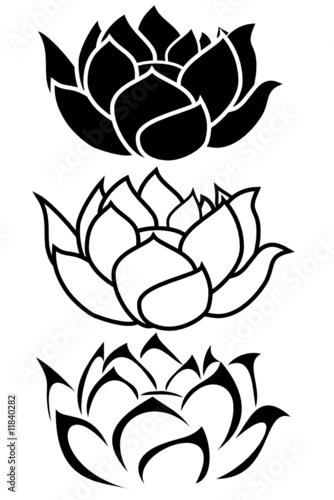 337445424 a lotus flower tribal tattoo set