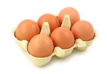 Fresh eggs isolated on white background