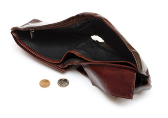 battered empty purse with tear