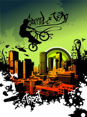 BMX in the sky over the city