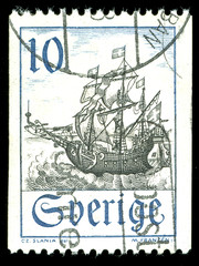 vintage stamp depicting a sailing ship