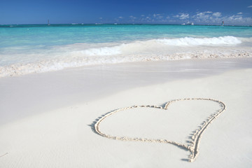 Heart on Beach Sand in Tropical Paradize: White Sand Beach and G