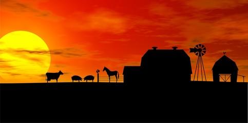 farm silhouette illustration