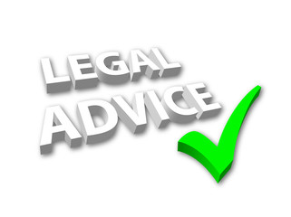 """Legal Advice"" in 3D with Green Tick"