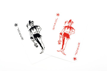 Pair of jokers from a deck of cards.