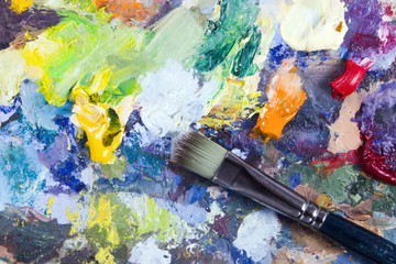 Artist's palette and brush