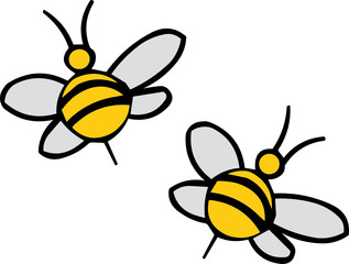 Vector illustreted bees on white background