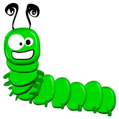 3d Cartoon Caterpillar - Isolated On White