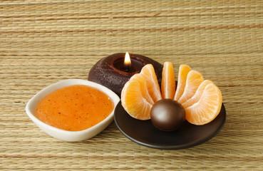 Obraz wellness & spa decoration - orange treatment - fototapety do salonu