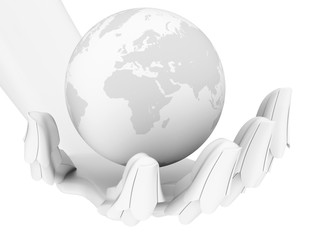 3d robotic hand holding earth globe isolated on white