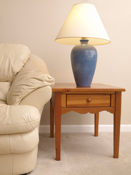 Leather Sofa with Lamp on full End Table