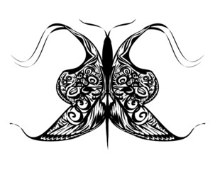 Black Butterfly Tattoo - Isolated On White