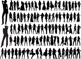 hundred diferent girls silhouette - vector