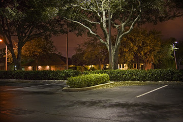Night crime scene at a parking lot