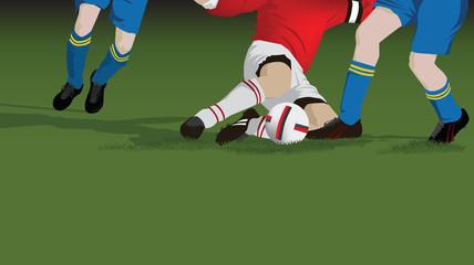 Football, soccer tackle close up