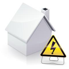 Maison blanche et installation électrique dangereuse (reflet)