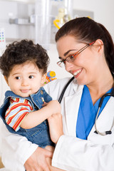 caring doctor and baby patient