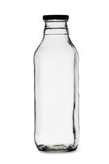 Empty milk bottle on a white background
