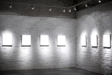Seven white empty frames