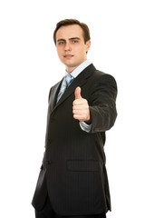Businessman showing thumb-up. Isolated on white.