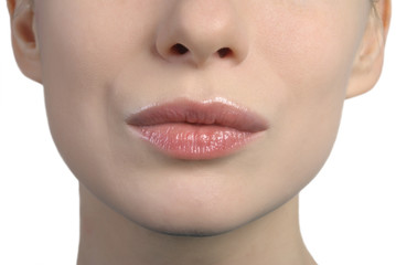 woman's lips kissing