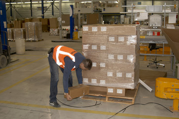 warehouse worker checking damaged goods on a pallet