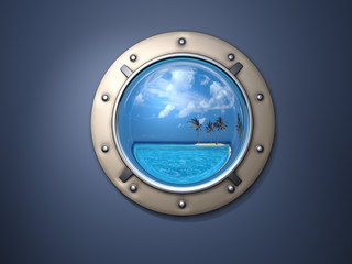Porthole and island