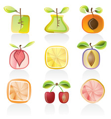 Abstract  fruit icon set